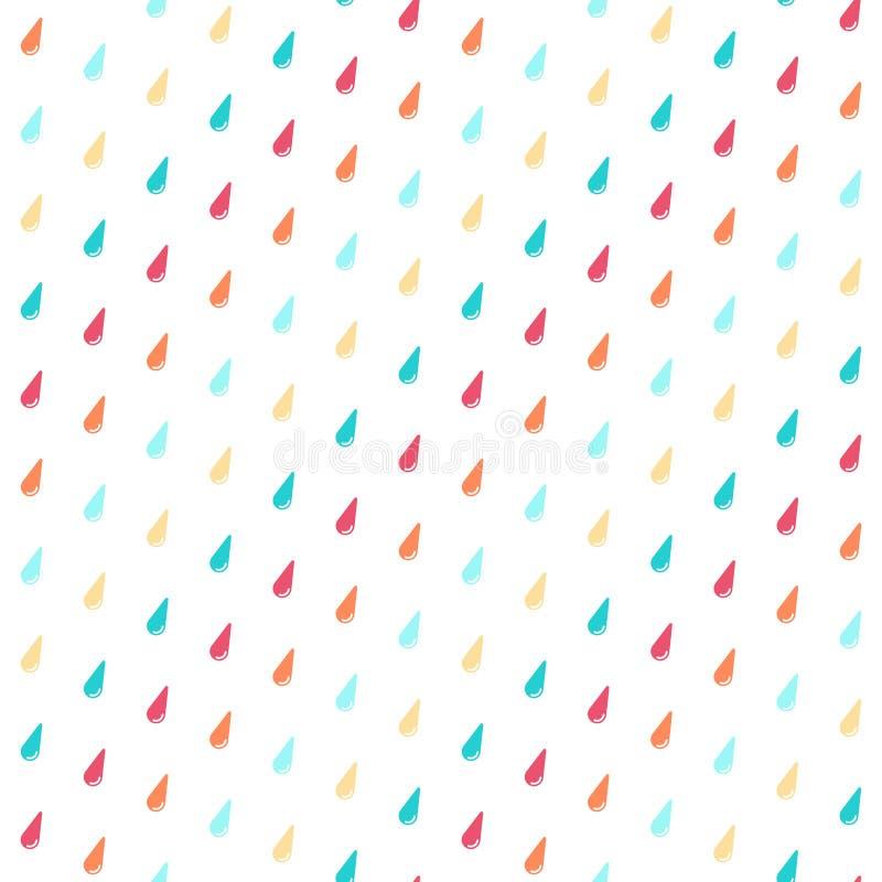 Modello senza cuciture con le gocce di pioggia variopinte royalty illustrazione gratis