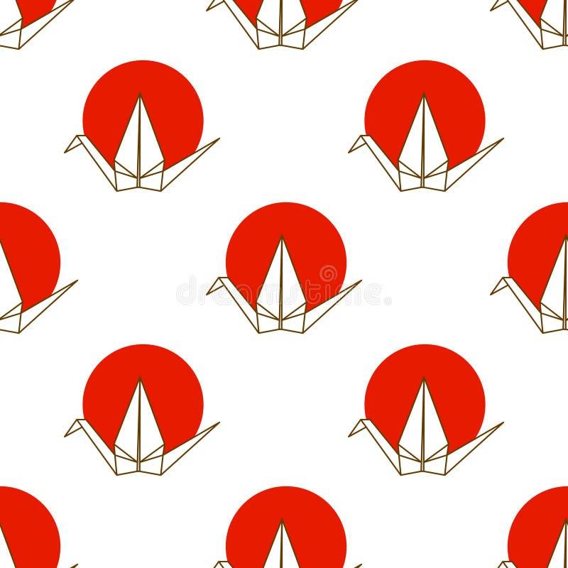Modello senza cuciture con le gru giapponesi di origami ed i cerchi rossi su fondo bianco illustrazione vettoriale