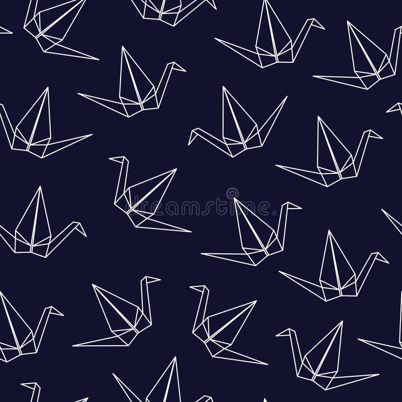 Modello senza cuciture con le gru giapponesi di origami su fondo blu illustrazione di stock