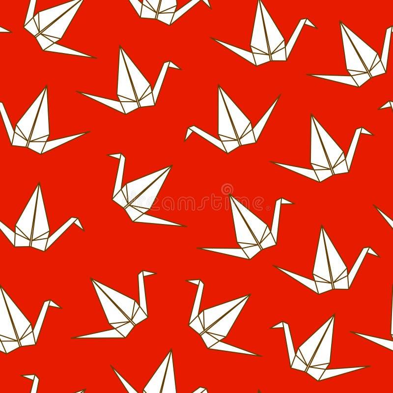 Modello senza cuciture con le gru giapponesi di origami su fondo rosso illustrazione di stock