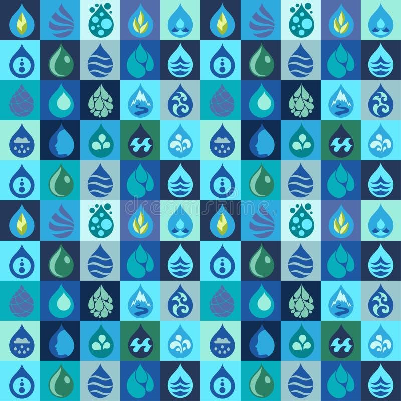 Modello senza cuciture con le icone dell'acqua nella progettazione piana illustrazione vettoriale
