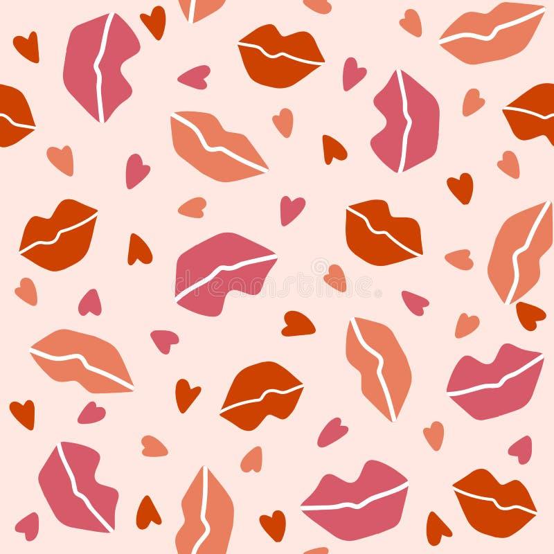 Modello senza cuciture con le labbra ed i cuori su un fondo rosa-chiaro royalty illustrazione gratis