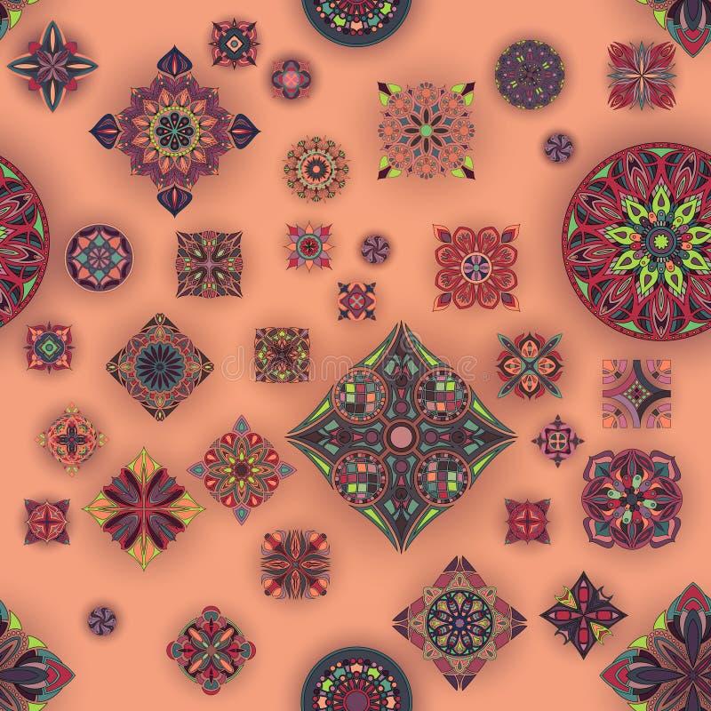 Modello senza cuciture con le mandale decorative Elementi d'annata della mandala immagini stock libere da diritti