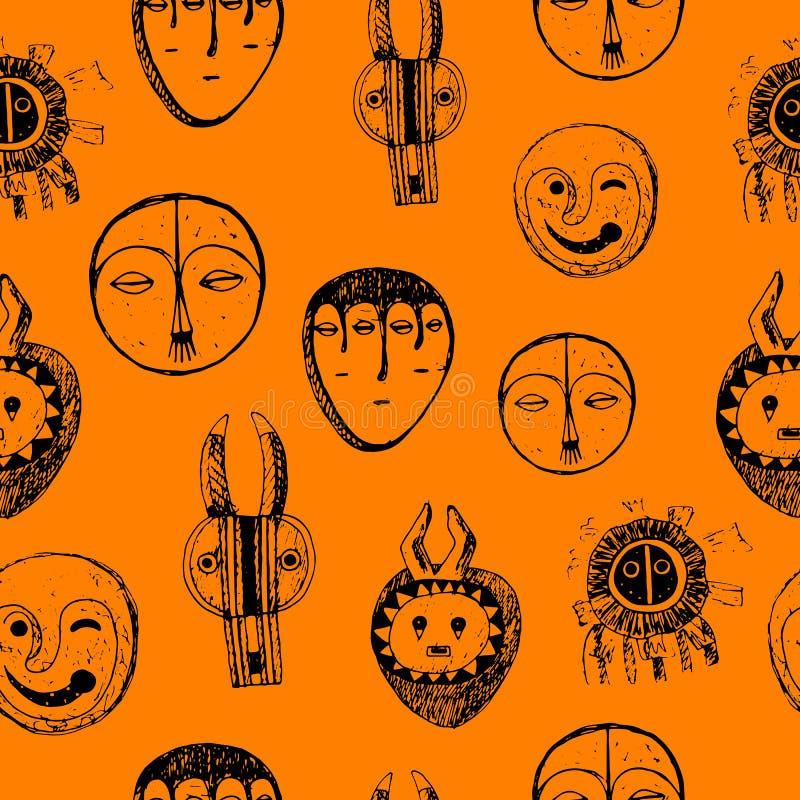 Modello senza cuciture con le maschere africane Disegno dell'inchiostro di scarabocchio Progettazione disegnata a mano del contes royalty illustrazione gratis
