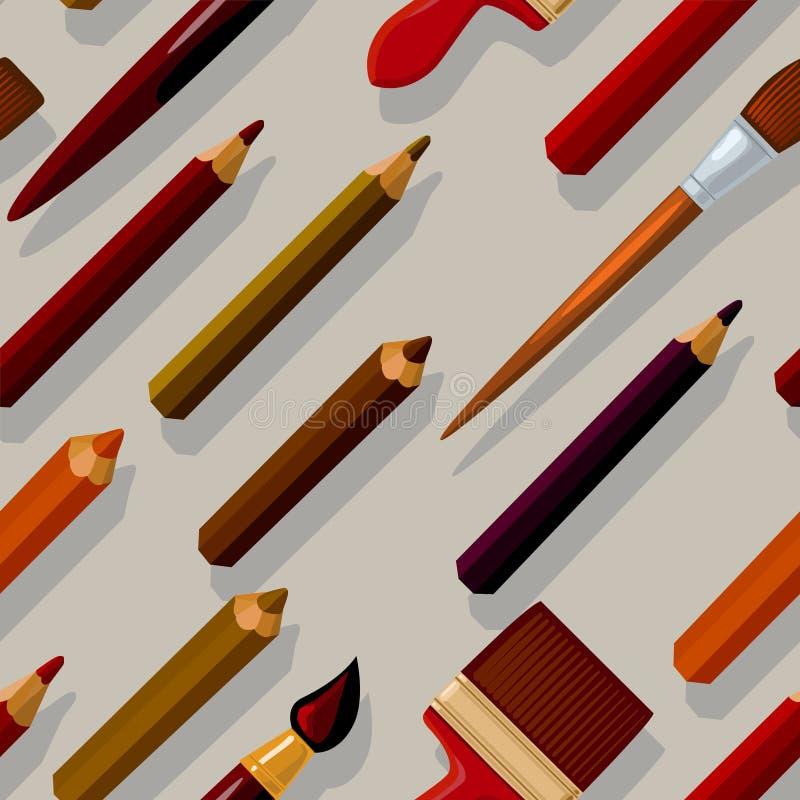 Modello senza cuciture con le matite e le spazzole che cadono le loro ombre illustrazione vettoriale