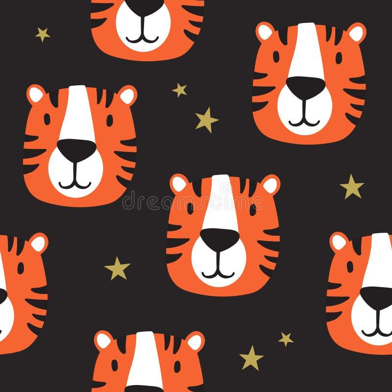 Modello senza cuciture con le museruole delle tigri, stelle royalty illustrazione gratis