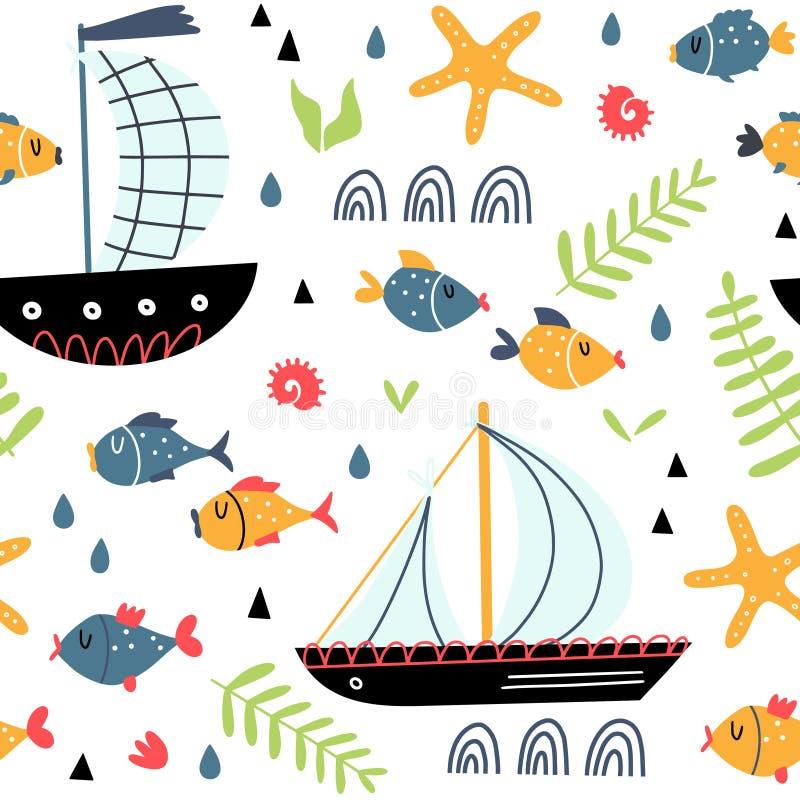 Modello senza cuciture con le navi ed il pesce del fumetto illustrazione di stock