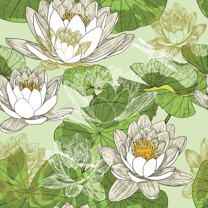 Modello senza cuciture con le ninfee di fioritura royalty illustrazione gratis