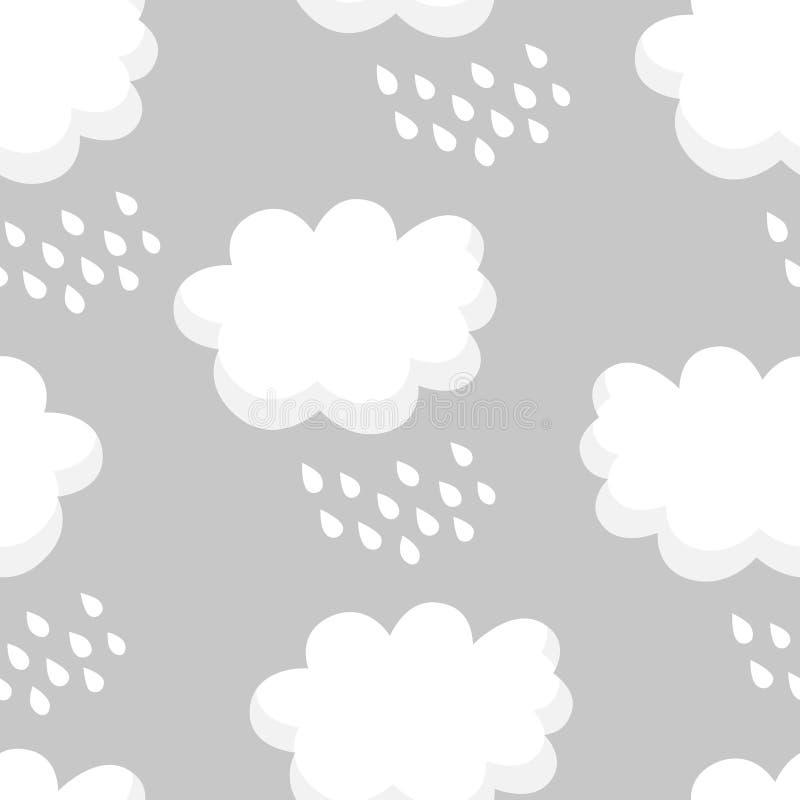 Modello senza cuciture con le nuvole e le gocce di pioggia bianche su fondo grigio Orni per i tessuti e lo spostamento del ` s de royalty illustrazione gratis