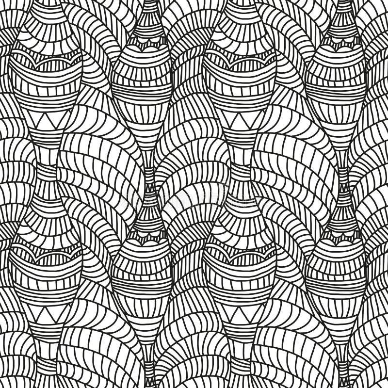 Modello senza cuciture con le onde e le linee disegnate a mano illustrazione vettoriale