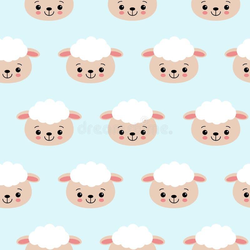 Modello senza cuciture con le pecore sveglie sul blu Fondo di vettore per i bambini illustrazione di stock