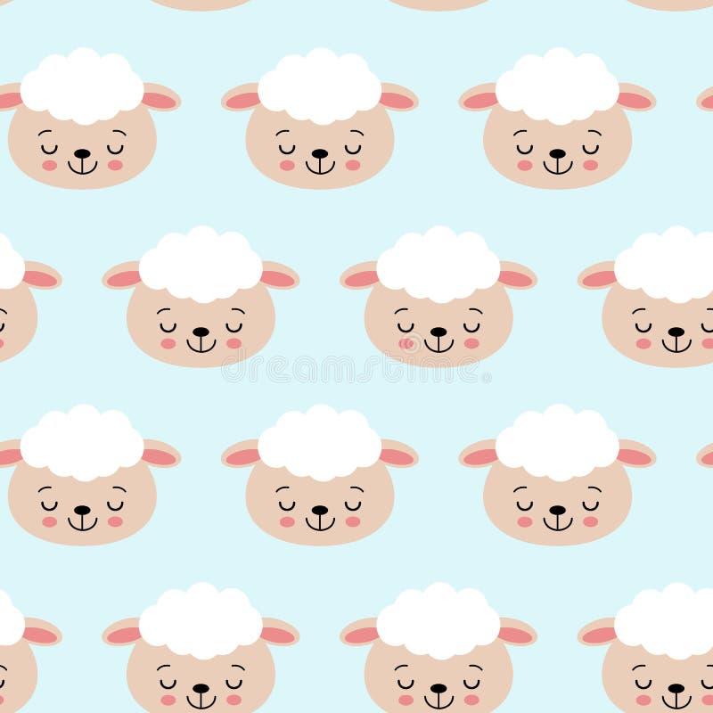 Modello senza cuciture con le pecore sveglie sul blu Fondo di vettore per i bambini royalty illustrazione gratis