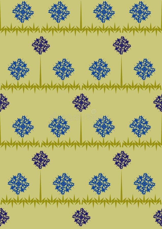 Modello senza cuciture con le piccoli margherite e fiordalisi su un fondo blu con le strisce Fiori blu e bianchi Illustr di estat illustrazione vettoriale