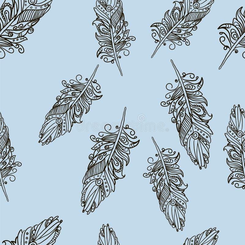 Modello senza cuciture con le piume di scarabocchio illustrazione di stock