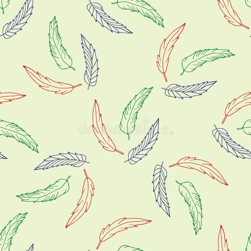 Modello senza cuciture con le piume disegnate a mano immagine stock