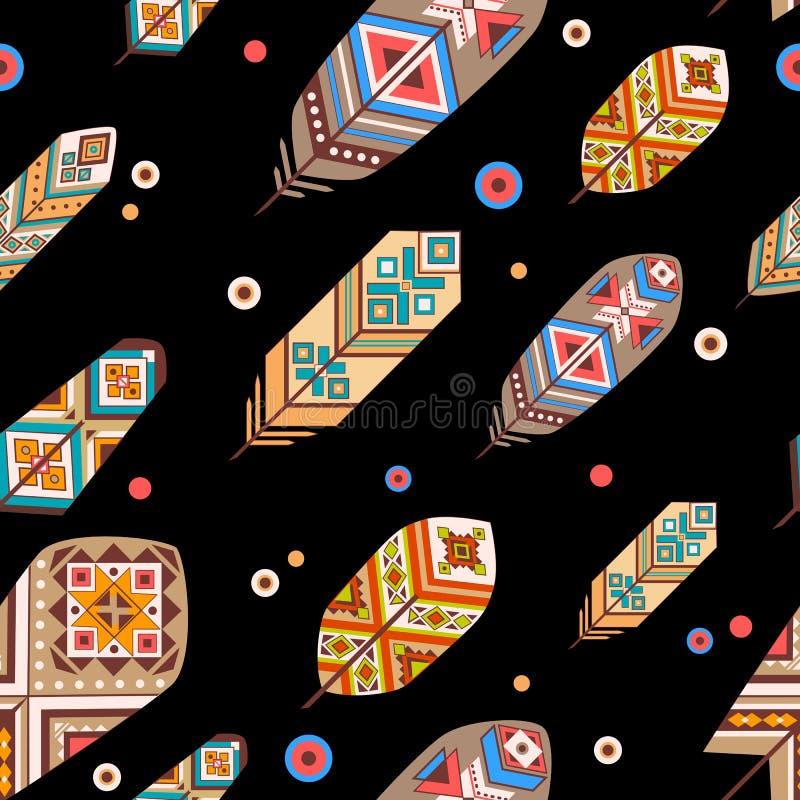 Modello senza cuciture con le piume etniche Piume decorative colorate su fondo nero Stile di Boho illustrazione vettoriale