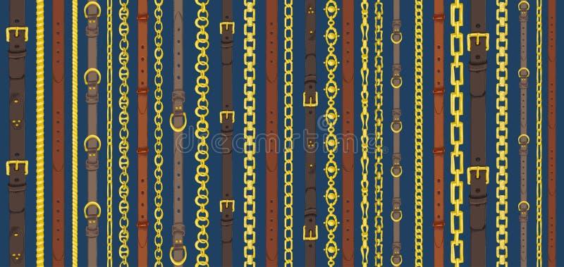 Modello senza cuciture con le retro cinghie disegnate a mano di schizzo, catena su fondo blu scuro Disegno incidendo grande proge illustrazione di stock