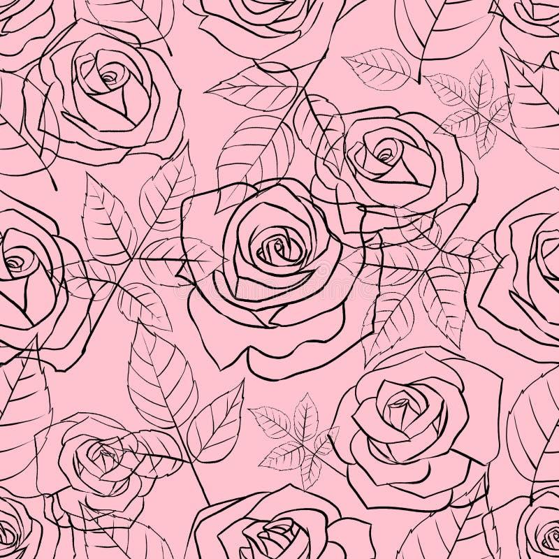 Modello senza cuciture con le rose e le foglie lineari delicate su un fondo rosa royalty illustrazione gratis