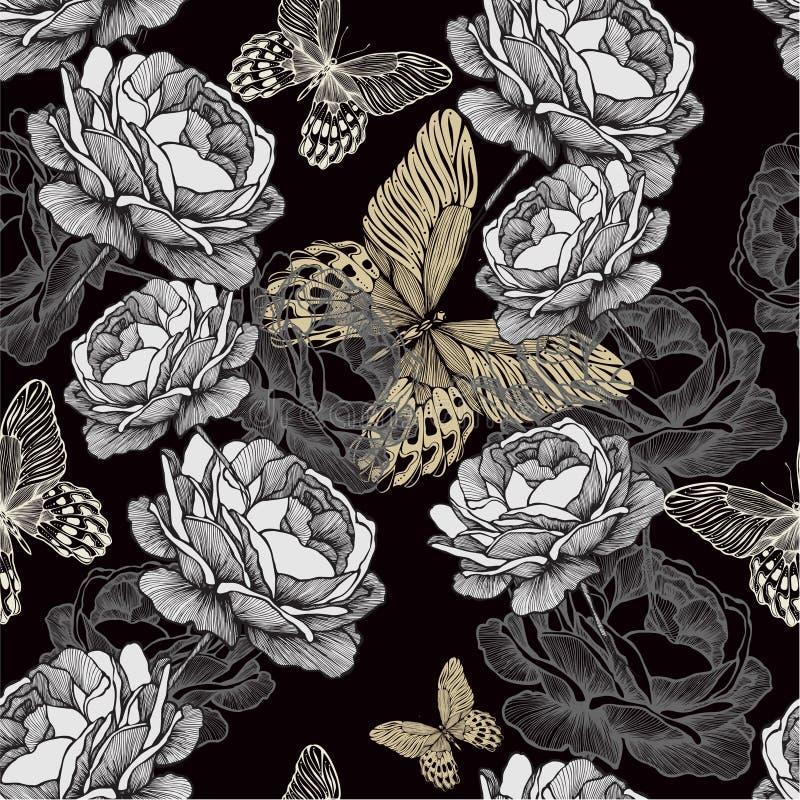 Modello senza cuciture con le rose e il butterfli di fioritura illustrazione vettoriale