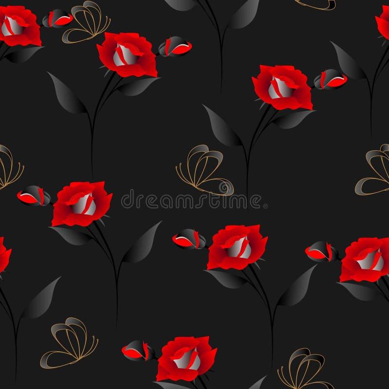 Modello senza cuciture con le rose e le farfalle su un fondo nero illustrazione vettoriale