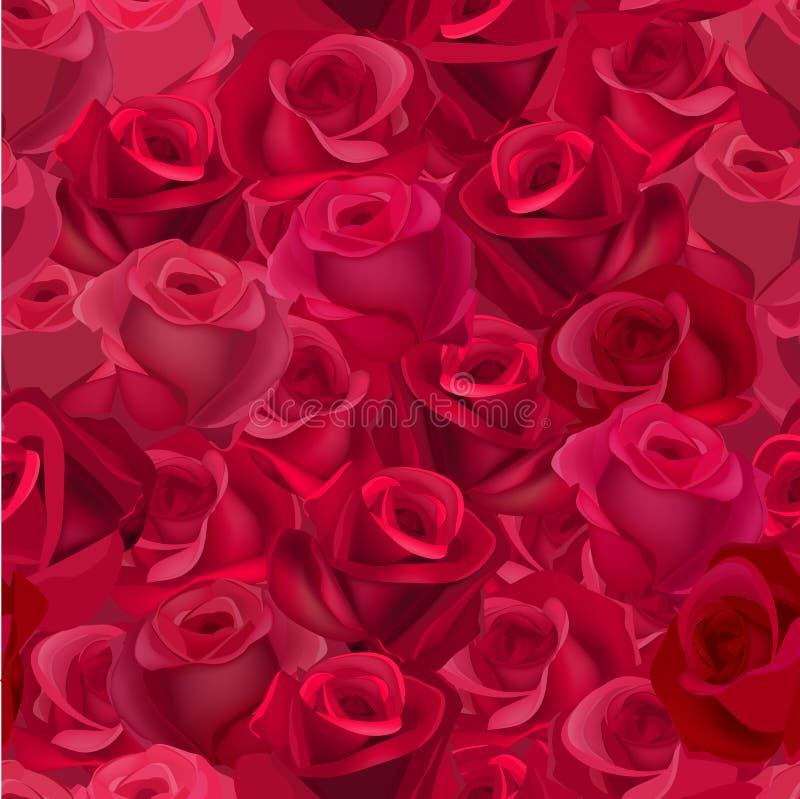 Modello senza cuciture con le rose realistiche illustrazione vettoriale