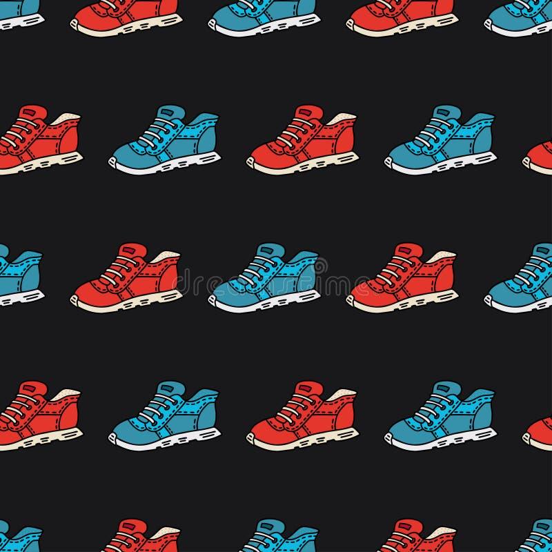 Modello senza cuciture con le scarpe disegnate a mano di sport  illustrazione di stock