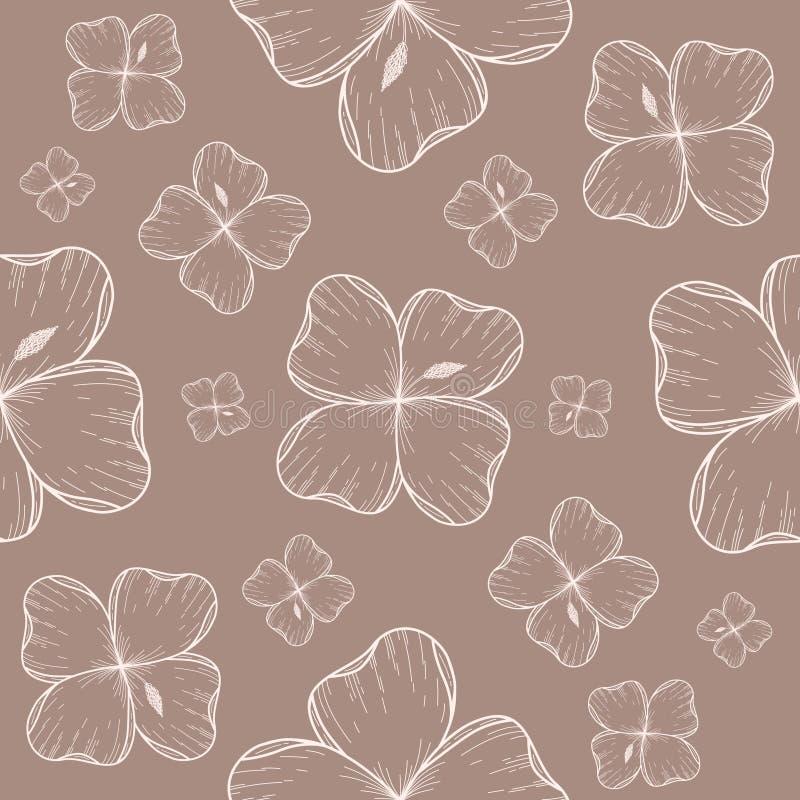 Modello senza cuciture con le siluette bianche dei fiori esotici su un fondo marrone grigio royalty illustrazione gratis