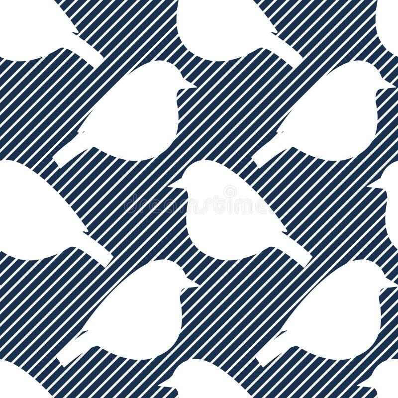 Modello senza cuciture con le siluette dell'uccello immagini stock