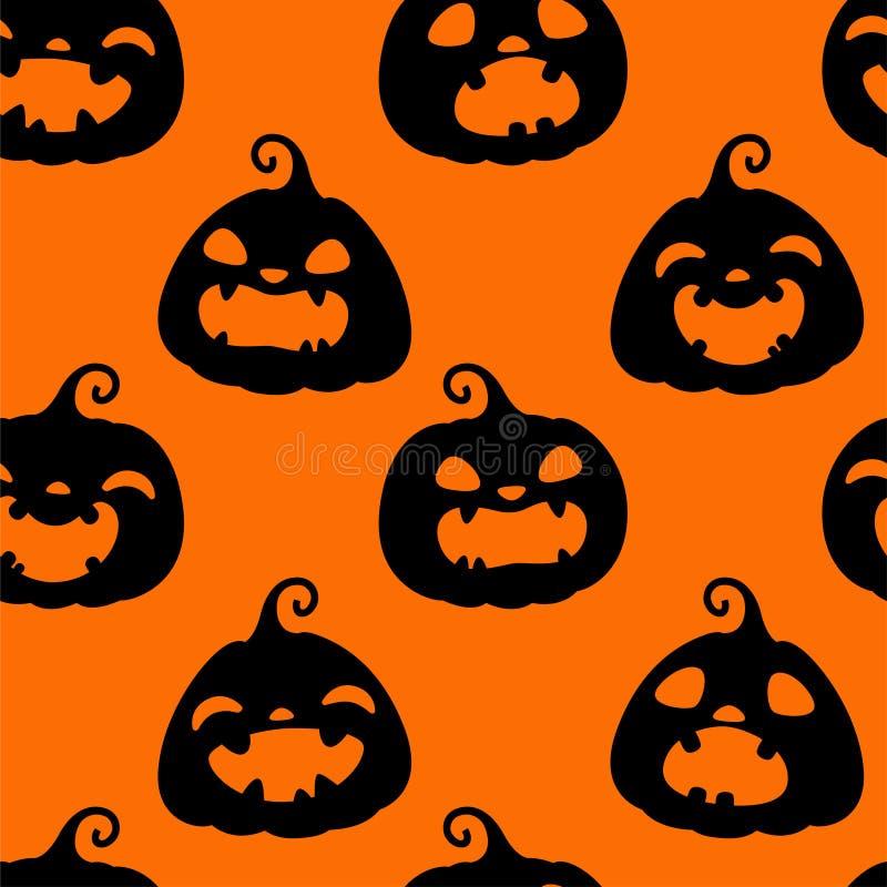 Modello senza cuciture con le siluette nere delle zucche differenti di Halloween su fondo arancio Illustrazione di vettore Per sc illustrazione di stock