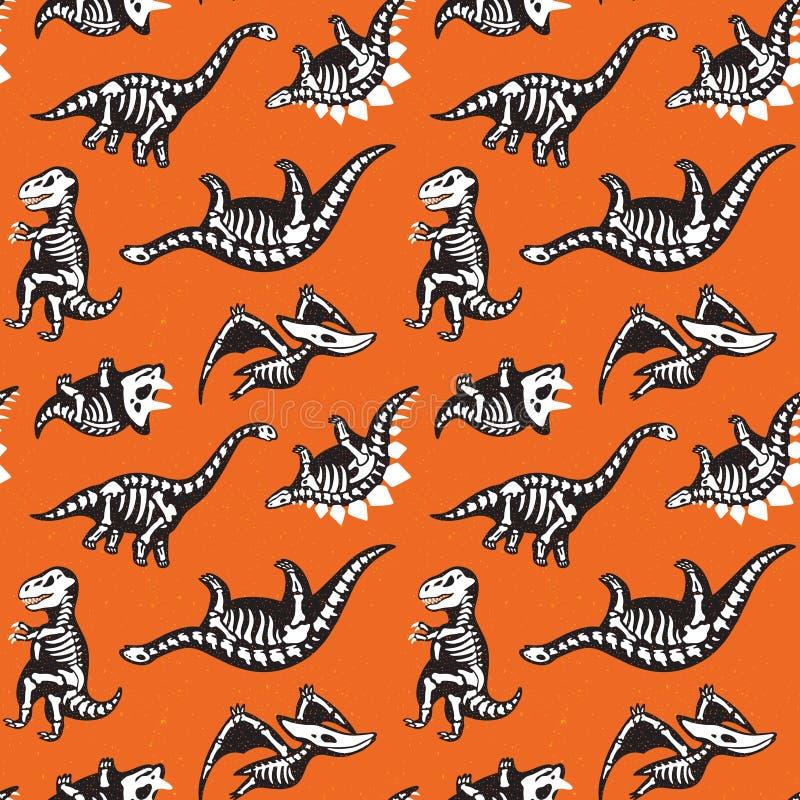 Modello senza cuciture con le siluette spaventose sveglie dei dinosauri con uno scheletro Fondo dell'arancia di feste di Hallowee illustrazione vettoriale