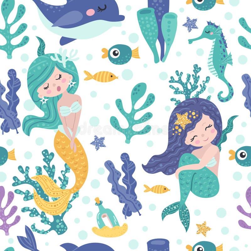 Modello senza cuciture con le sirene, l'alga ed i pesci svegli illustrazione vettoriale