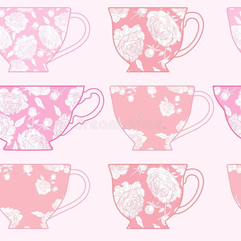 Modello senza cuciture con le tazze, modello delle peonie rosa immagine stock libera da diritti