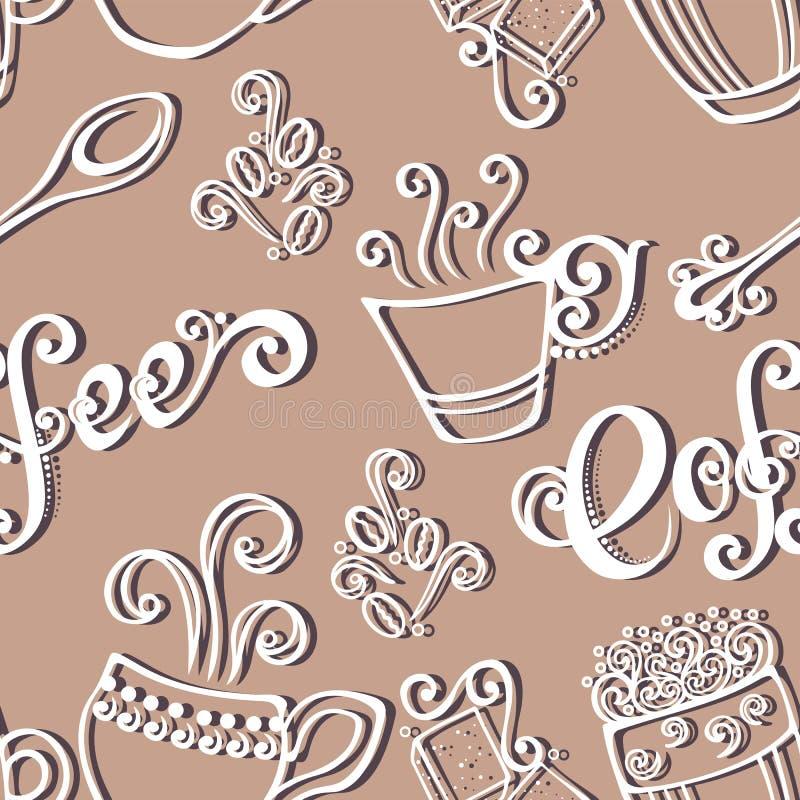 Modello senza cuciture con le tazze di caffè (vettore) illustrazione di stock