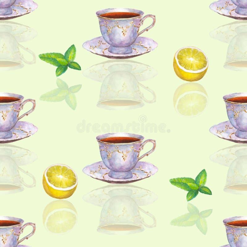 Modello senza cuciture con le tazze, il limone e la m. di tè della porcellana dell'acquerello royalty illustrazione gratis