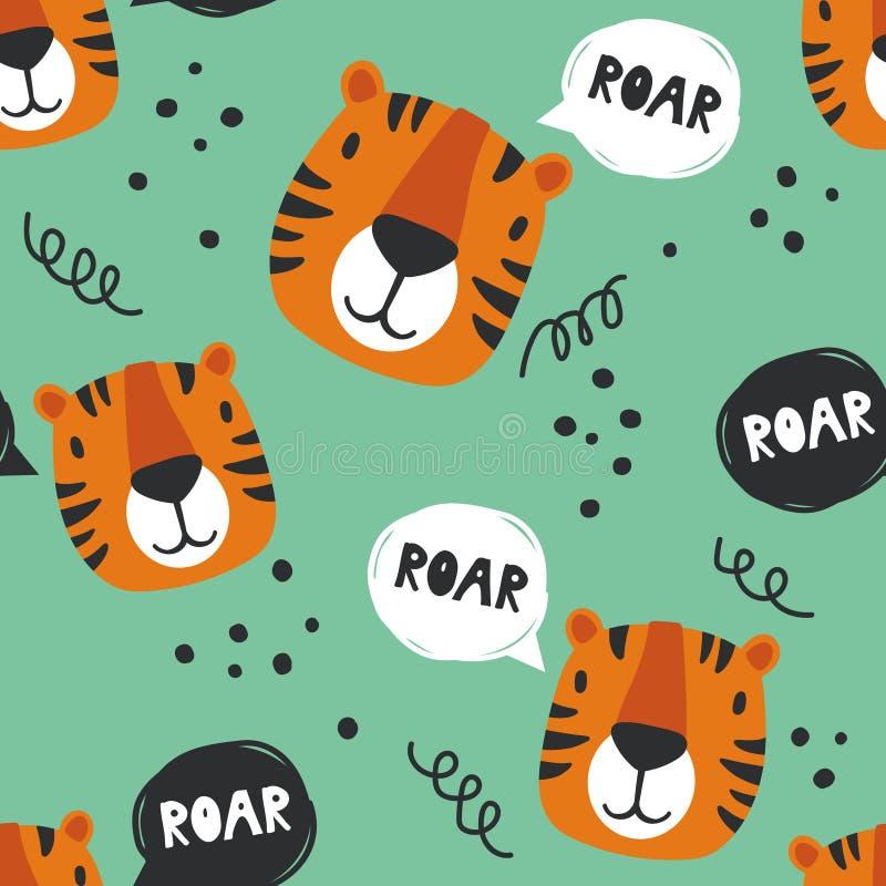 Modello senza cuciture con le tigri royalty illustrazione gratis
