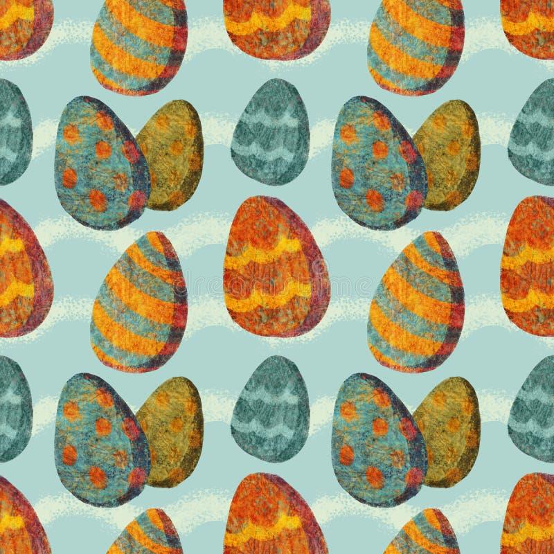 Modello senza cuciture con le varie uova ornamentali variopinte illustrazione di stock