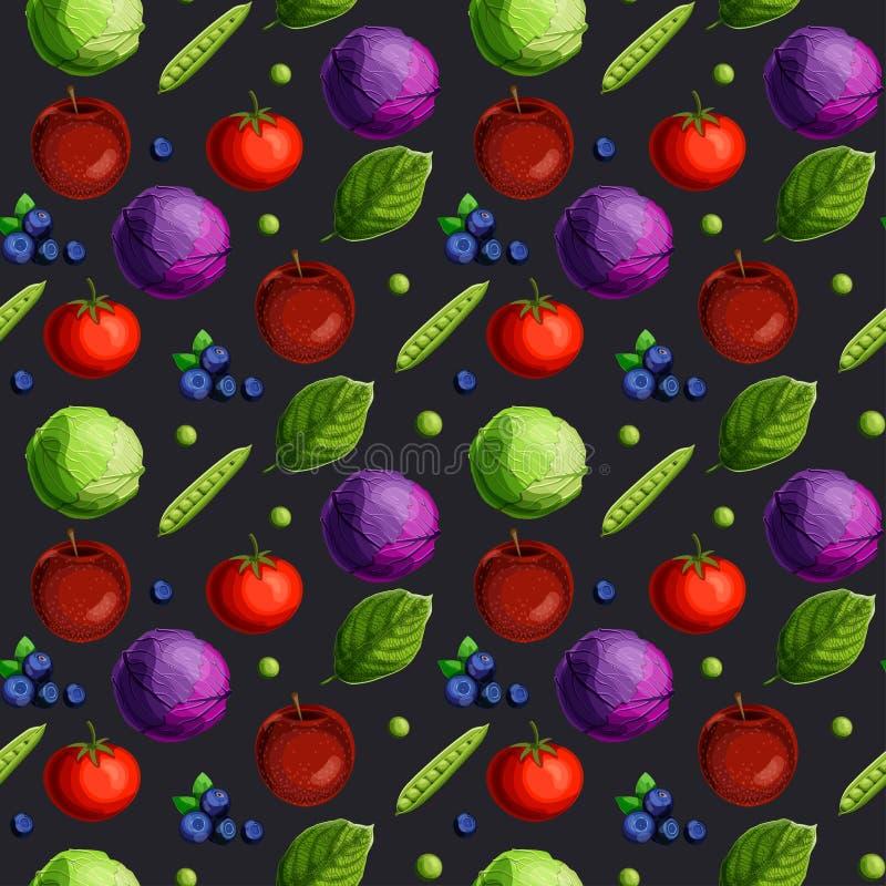 Modello senza cuciture con le verdure, la frutta, le bacche e le foglie verdi del fesh su fondo nero illustrazione vettoriale