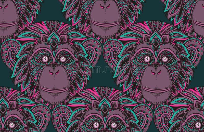 Modello senza cuciture con lo scimpanzè decorato disegnato a mano lunedì dello zentagle illustrazione vettoriale