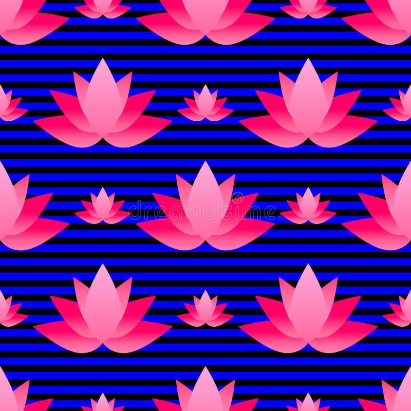 Modello senza cuciture con loto rosa luminoso immagini stock
