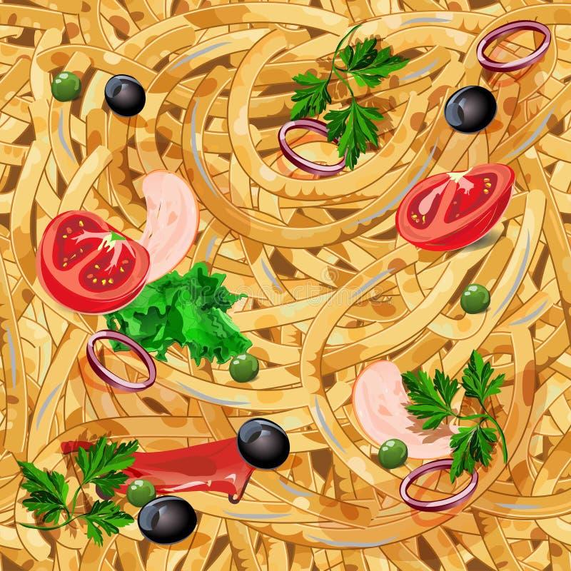 Modello senza cuciture con pasta Fondo senza fine con gli spaghetti Illustrazione di vettore royalty illustrazione gratis