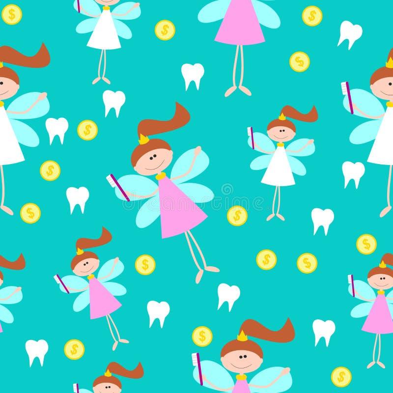 Modello senza cuciture con poco fatato di dente sveglio con i denti illustrazione di stock