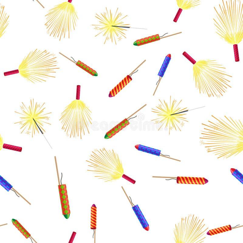 Modello senza cuciture con Rockets Sparklers Fireworks illustrazione vettoriale