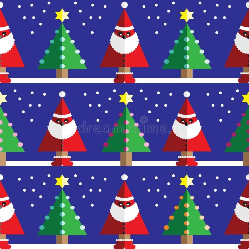 Modello senza cuciture con Santa Claus geometrica, neve, alberi di Natale con le luci e l'elemento blu-chiaro, arancio, rosa dell illustrazione di stock