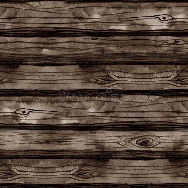 Modello senza cuciture con struttura di legno dell'acquerello, bordi, recinto, pavimento, parete, legno, albero, legna da ardere, immagini stock