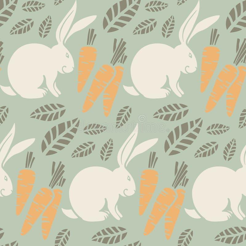 Modello senza cuciture, coniglietto, carote illustrazione di stock