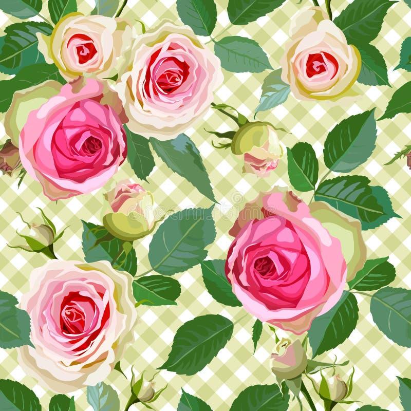 Modello senza cuciture controllato con le rose illustrazione di stock