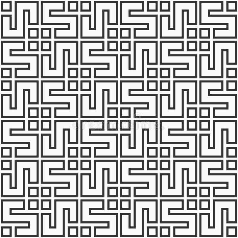 Modello senza cuciture coreano o cinese astratto Ornamento simmetrico geometrico di Repeatimg illustrazione vettoriale