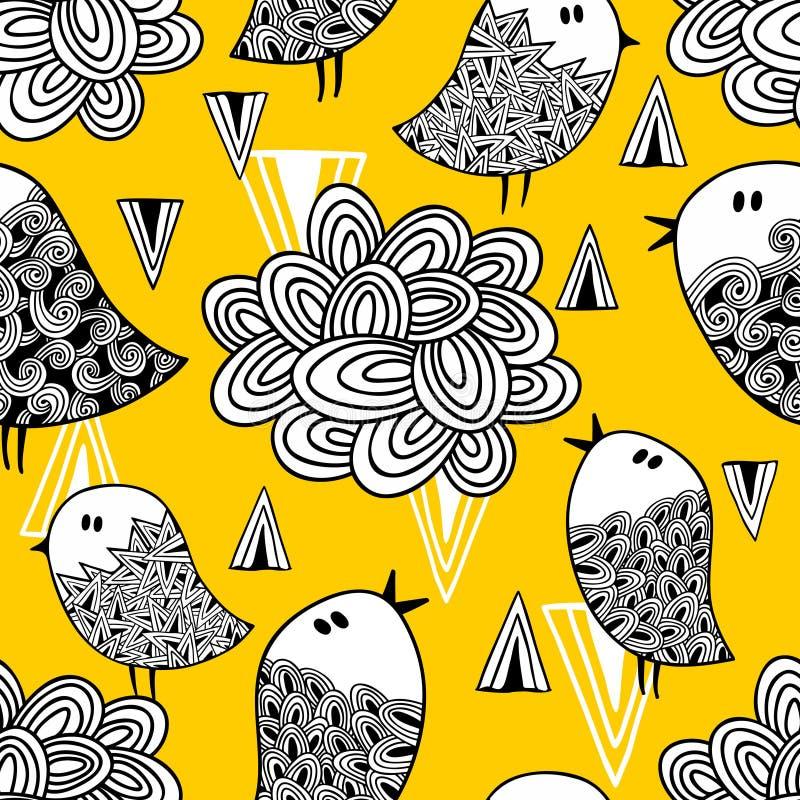 Modello senza cuciture creativo con gli elementi dell'uccello e di progettazione di scarabocchio illustrazione di stock