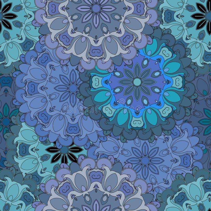 Modello senza cuciture d'annata blu pastello nello stile orientale Indiano, arabo, ottomano, turco, giapponesi, floreale cinese illustrazione di stock