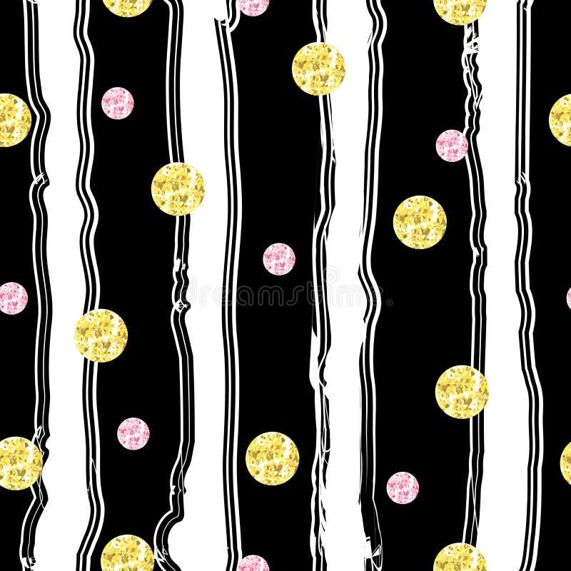 Modello senza cuciture d'annata con i cerchi con struttura dorata e rosa della stagnola di scintillio royalty illustrazione gratis